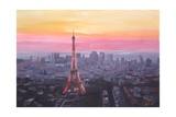 Paris Eiffel Tower at Dusk Premium Giclee Print by Markus Bleichner
