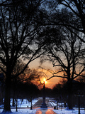 University of Mississippi (Ole Miss) - Snowy Sunset in Oxford Photographic Print