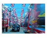London covered with Union Jack Flags Premium Giclee Print by Markus Bleichner