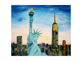 Statue of Liberty with view of NEW YORK Premium Giclee Print by Martina Bleichner