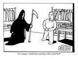 """It's so drapey—should I get something with a crisper line?""  - New Yorker Cartoon Premium Giclee Print by Bruce Eric Kaplan"