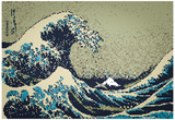 8-Bit Art Great Wave Print