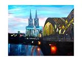 Cologne Cathedral with Hohenzollern Bridge Reproduction procédé giclée Premium par Markus Bleichner