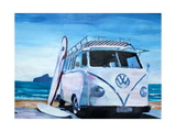 The White Volkswagen Surf Bus Premium Giclee Print by Markus Bleichner