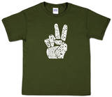 Youth: 'Give Peace a Chance' Peace Fingers Word art T-Shirt