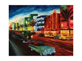 Miami Ocean Drive with Mint Cadillac Premium Giclee Print by Markus Bleichner