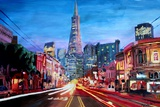 San Francisco - Columbus St with Cafe Vesuvio Premium Giclee Print by Markus Bleichner