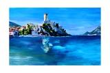 Malcesine with Castello Scaligero Premium Giclee Print by Markus Bleichner