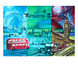 London, Big Ben & Bus Premium Giclee Print by Martina Bleichner