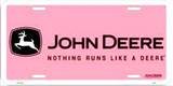 John Deere Pink Logo License Plate Tin Sign