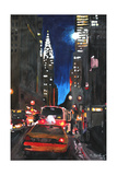 New York - Chrysler Building Street Scene Premium Giclee Print by Martina Bleichner