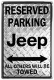 Jeep Reserved Parking Placa de lata