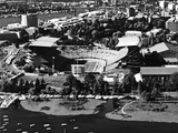 University of Washington - Black and White Aerial of Husky Stadium Photographic Print