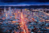San Francisco - Market Street Night from Twin Peak Premium Giclee Print by Markus Bleichner