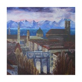Munich with Blue Alps Premium Giclee Print by Markus Bleichner