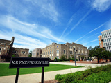 Duke University - Blue Skies Above Cameron Indoor Stadium and Krzyzewskiville Poster