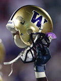 University of Washington - Washington Helmet Held High Photographic Print  by  Max Waugh
