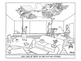 Two men paint the ceiling of an apartment with rollers. Instead of plain c… - New Yorker Cartoon Premium Giclee Print by Jack Ziegler