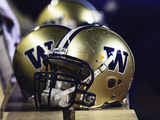 University of Washington - UW Helmets Sit at Husky Stadium Fotografisk tryk