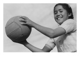 Girl and Volley Ball Poster by Ansel Adams