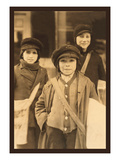 Newsboys Print by Lewis Wickes Hine