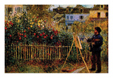 Monet Painting in His Garden in Argenteuil Poster von Claude Monet