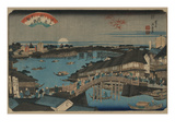 Evening Glow at Ryogoku Bridge. Prints by Ikeda Eisen