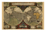 Vera Totius Expeditionis Nautica (World Map) Posters par Abraham Ortelius