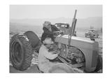 Tractor Repair: Driver Benji Iguchi, Mechanic Henry Hanawa, Manzanar Relocation Center, California Prints by Ansel Adams