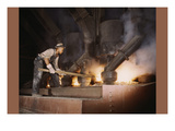 African American Working in a Smelting Plant Prints