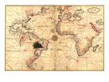 Portolan World Map Print by Joan Oliva