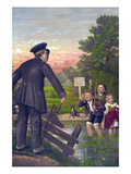Policeman Catches Young Children in a Pond Art by G.F. Gillman