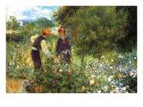 Picking Flowers Prints by Pierre-Auguste Renoir