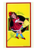 Broom Girl Broom Label Posters