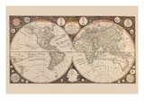 A New Map of the World : with All the New Discoveries by Capt. Cook and Other Navigators Posters by Thomas Kitchen