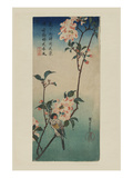 Small Bird on a Branch of Kaidozakura (Kaido Ni Shokin) Premium Giclee Print by Ando Hiroshige