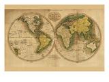 World Map Art by Mathew Carey