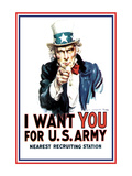 I Want You for the U.S. Army Print by James Montgomery Flagg