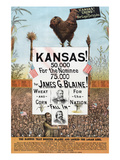 Kansas! for James G Blaine. Posters by  J.M.W. Jones Sta'y & P't'g Co