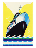 Steamship Cruise Liner Boom Label Posters