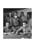 Tuskegee Airmen Playing Cards in the Officers' Club in the Evening Posters