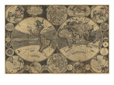 World Map with Planets Print by W. Godson