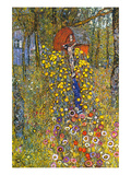 Farmers Garden with Crucifix Poster by Gustav Klimt