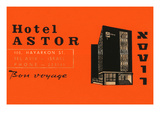 Hotel Astor Luggage Label Prints
