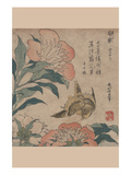 Peony and Canary Prints by Katsushika Hokusai
