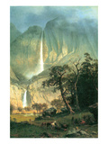 Cho-Looke, Yosemite Waterfall Art by Albert Bierstadt