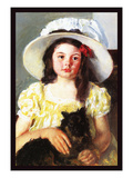 Francoise with a Black Dog Premium Giclee Print by Mary Cassatt