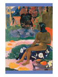 Tahitian Girl Nude Sits on Fabric Print by Paul Gauguin