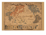 Japanese Map of the World; People of Many Nations Print