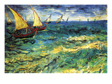 Seascape with Sailboats Art by Vincent van Gogh